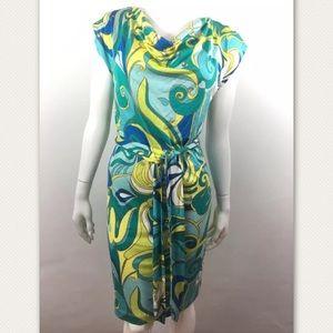 Trina Turk Banana Republic Dress abstract cowlneck